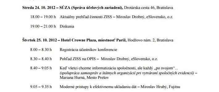 Pozvánka na konferenciu ZISS v Bratislave (24. – 25. október 2012)