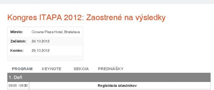 Pozvánka na medzinárodný kongres ITAPA 2012 – ZAOSTRENÝ NA VÝSLEDKY (24. – 25. október 2012)