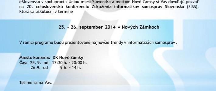Pozvánka na konferenciu ZISS v Nových Zámkoch (25. – 26. september 2014)