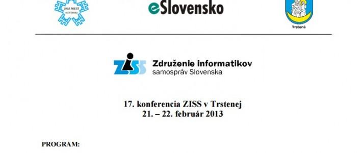 Pozvánka na konferenciu ZISS v Trstenej (21. – 22. február 2013)