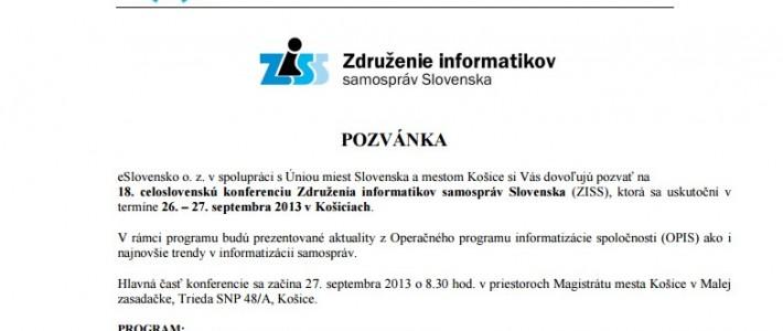 Pozvánka na konferenciu ZISS v Košiciach (26. – 27. septembra 2013)