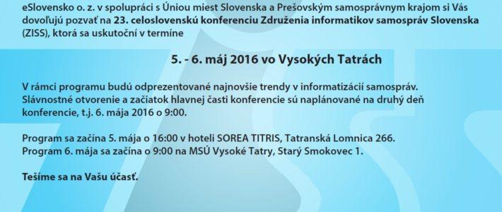 Konferencia ZISS v Tatrách (5. – 6. mája 2016)